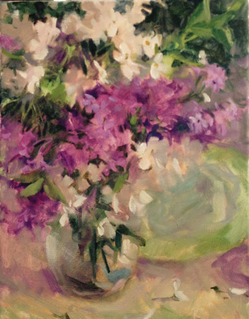 lilac, cherry blossom, oil painting, margaret aycock