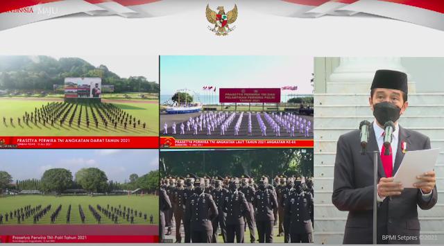 Jokowi Lantik 700 Perwira TNI dan Polri Tahun 2021