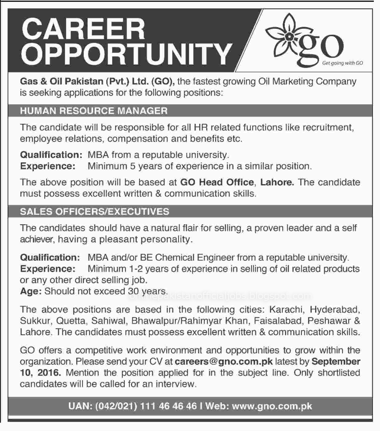 Gas And Oil Pakistan Pvt Limited jobs