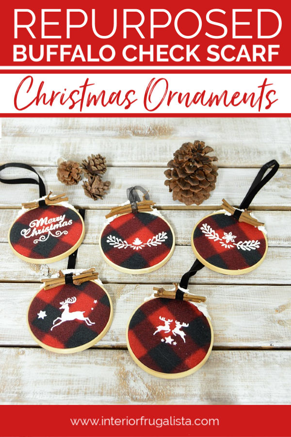 Rustic Snow Capped Buffalo Check Ornaments by Interior Frugalista made with a recycled dollar store plaid fleece scarf and small embroidery hoops. A budget DIY Christmas decor Idea! #buffalocheckornaments #plaidchristmasornaments #diyholidaydecor