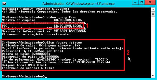 Podemos intentar cambiar los servidores de tiempo del sistema operativo invitado usando  el comando w32tm, pero, comprobaremos que los cambios no se aplicarán.