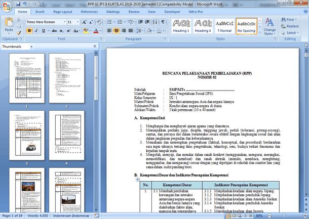 RPP IPS SMP Kelas 9 Kurikulum 2013 Revisi Tahun 2019-2020
