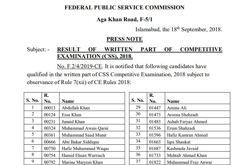 CSS 2018 written exams results