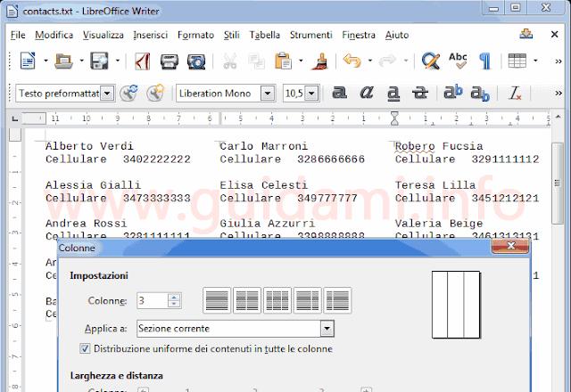 LibreOffice Writter incolonnare testo