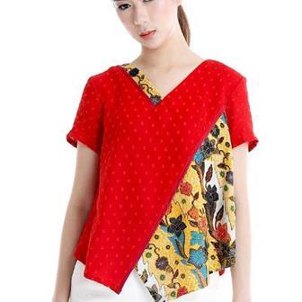 Blus Batik Kombinasi Dengan Kain Polos Yang Modis Dan Elegan