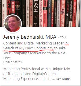 Jeremy Bednarski LinkedIn Bio