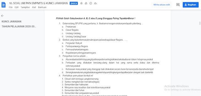 Latihan Soal & Kunci Jawaban Ujian Madrasah (UM) PPKN MTs Tahun 2020/2021