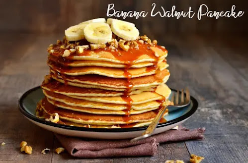 Banana Walnut Pancake | Easy Banana Walnut Pancake at Home