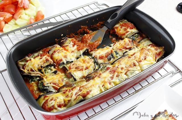 Canelones de berenjena rellenos de espinacas y queso. Julia y sus recetas
