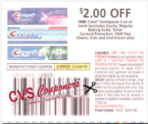 """$2/1 Crest Toothpaste Coupon from """"P&G"""" insert week of 10/27 (EXP:11/9)."""