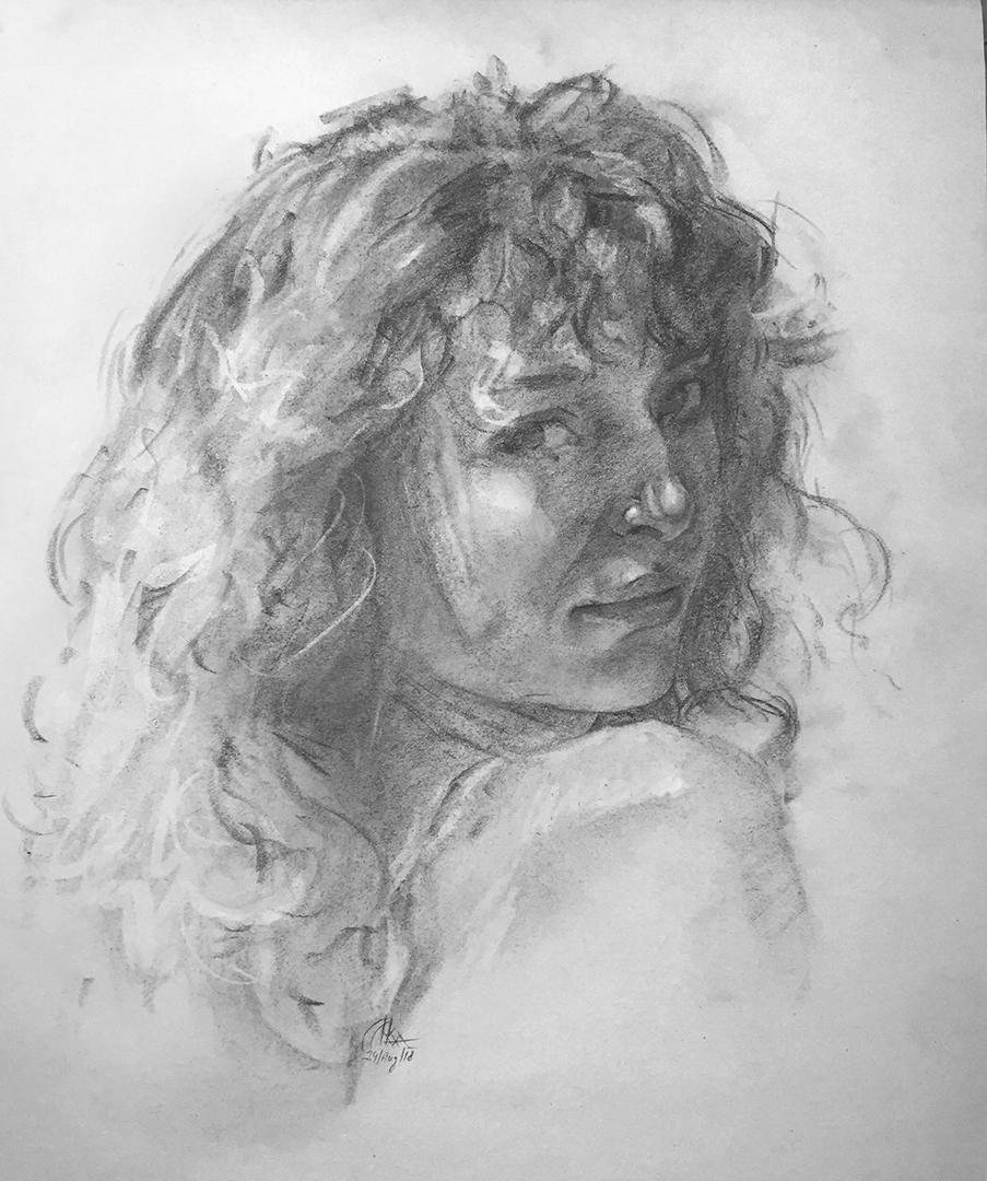 Iva K, Charcoal Portrait Drawing