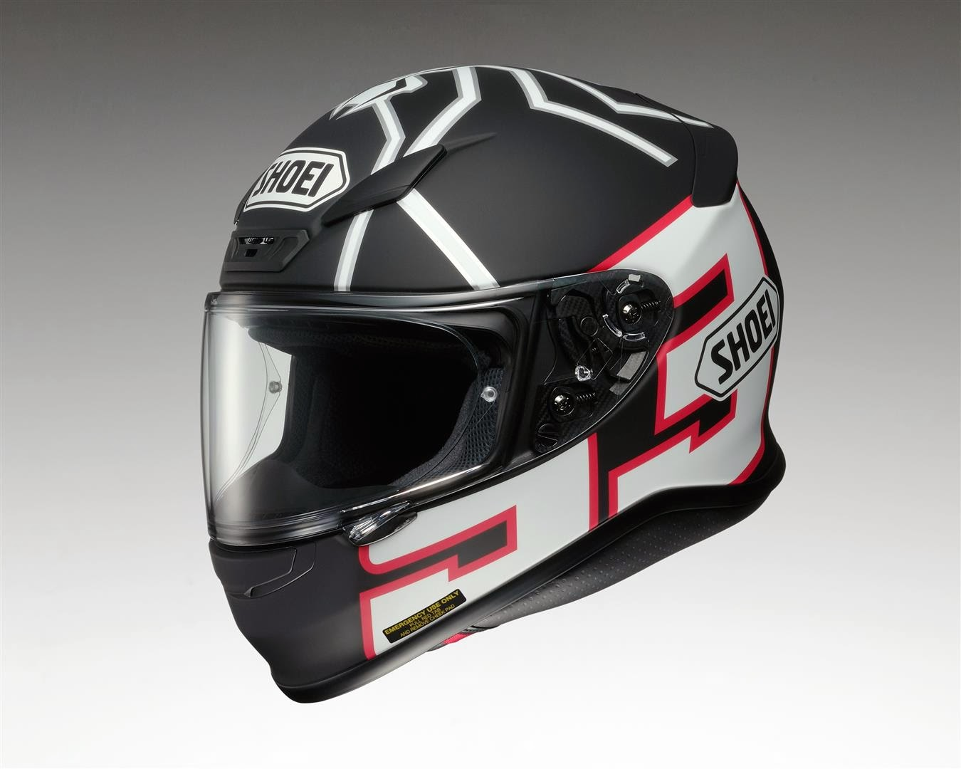 racing helmets garage shoei nxr replica marquez test. Black Bedroom Furniture Sets. Home Design Ideas