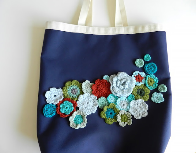 upcycled canvas bag of flowers