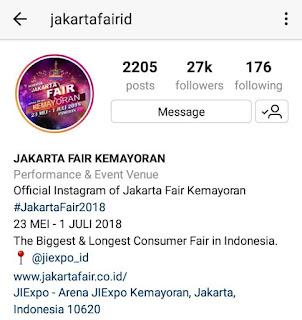 Akun Instagram Jakarta Fair 2018
