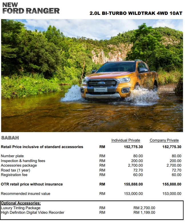 Ford Ranger WildTrak 2020 Pricelist With Enhanced Specifications