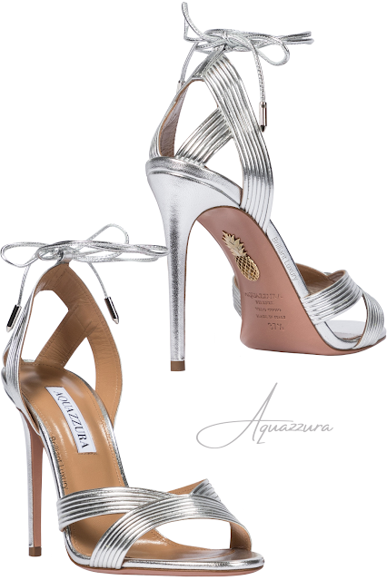 Aquazzura Ari Silver Metallic Leather Sandals #brilliantluxury