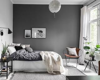 Dekorasi kamar Tidur Cowok Warna Abu