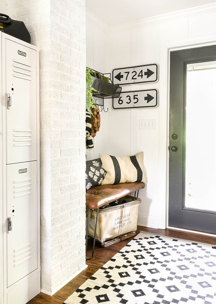 Vintage modern industrial mudroom