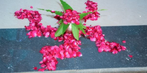 Swastik Images with Flowers