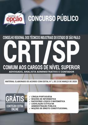 A Apostila CRT-SP em PDF - Comum aos Cargos de Nível Superior - 2020 foi elaborada de acordo com o Edital 01/2020 do concurso, por professores especializados em cada matéria e com larga experiência em concursos.