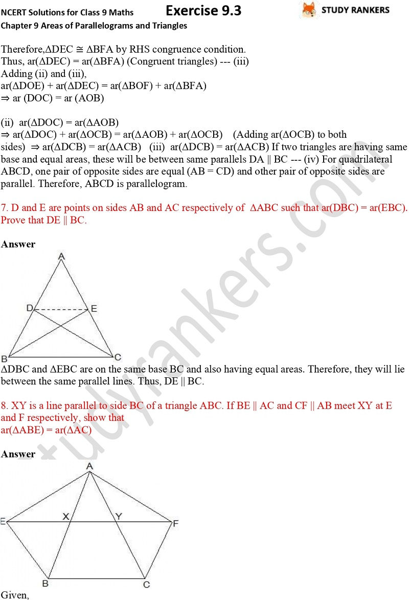 NCERT Solutions for Class 9 Maths Chapter 9 Areas of Parallelograms and Triangles Exercise 9.3 Part 5
