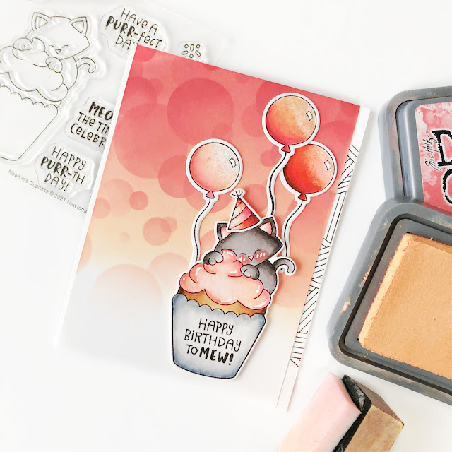 Birthday Cat and Cupcake Card by Samantha Mann | Newton's Cupcake Stamp Set, Fabulous Frenchies Stamp Set and Bokeh Stencil Set by Newton's Nook Designs #newtonsnook #handmade