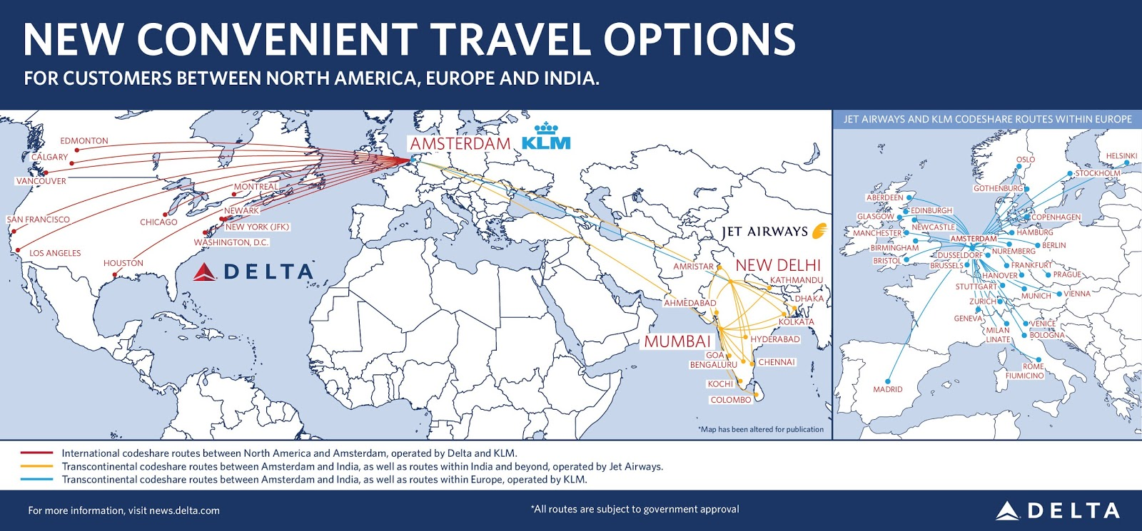 so now with expanded co operation between delta and jet airways skymiles members traveling through amsterdam london and paris will be able to connect to