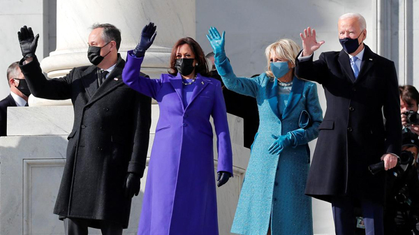Second Gentleman Doug Emhoff, Vice President Kamala Harris, First Lady Jill Biden and President Joe Biden greet the crowd outside the U.S. Capitol...on January 20, 2021.