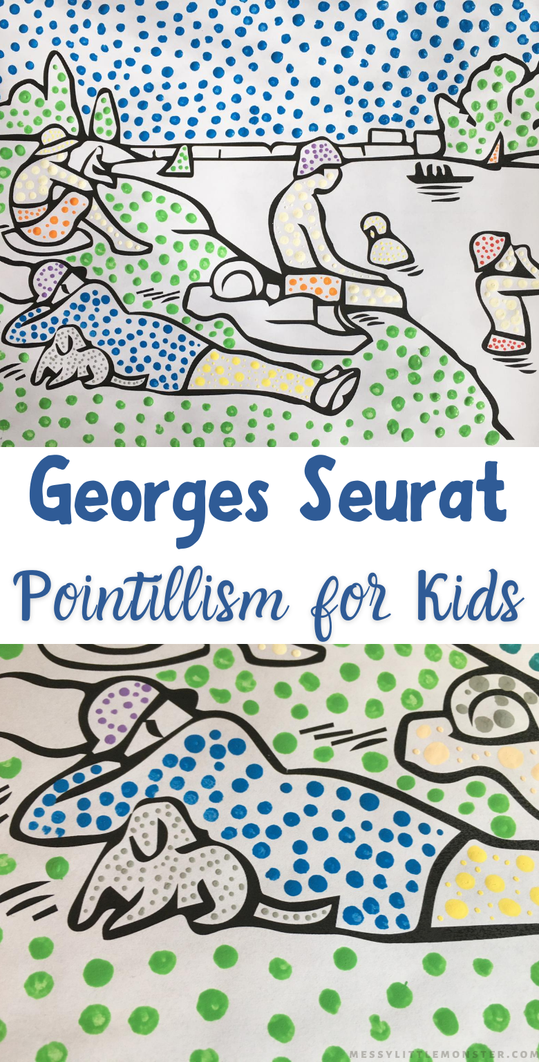 Artists study for famous artist Georges Seurat for kids. Pointillism art project for kids with Bathers at Asnieres printable template.