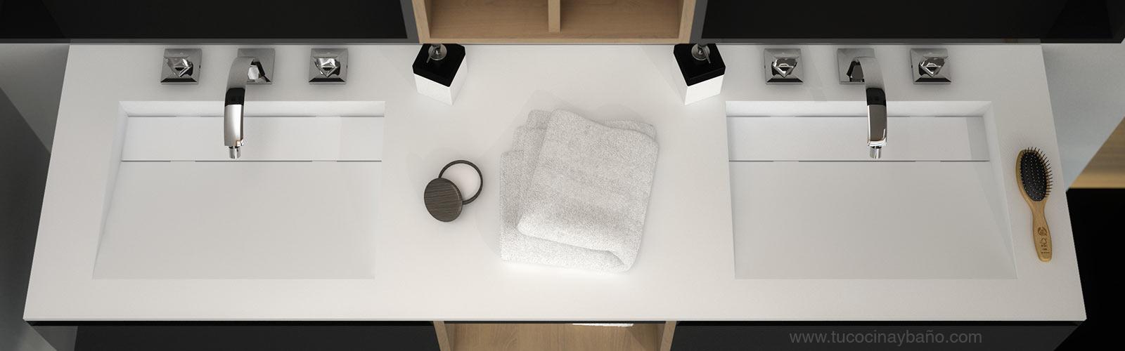 Encimera lavabo suspendido a medida reformas guaita - Lavabos dobles sobre encimera ...