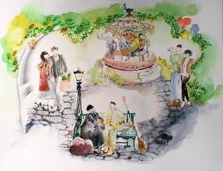 Hide and Seek watercolor