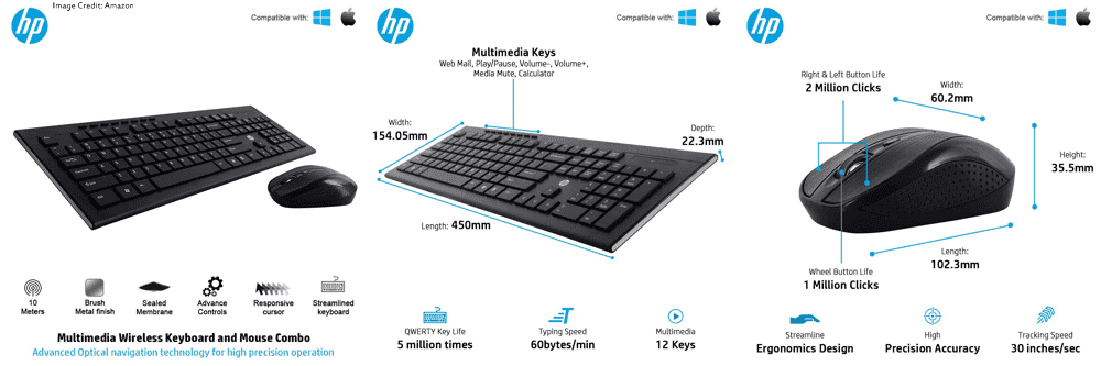 The image of HP 4SC12PA wireless keyboard and mouse combo. Its color is black. Moreover, It has a 1 year of warranty. Furthermore, The keyboard has a total of 104 keys and the mouse has total of 3 buttons. Also, the mouse has 3 changeable DPIs.