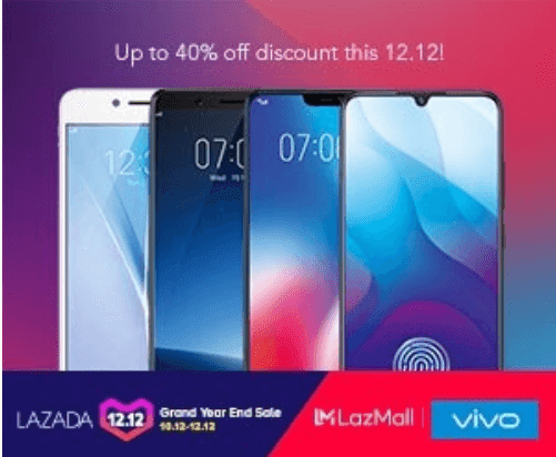 Vivo smartphones offers up to 40% off on Lazada 12:12 Grand Year End Sale
