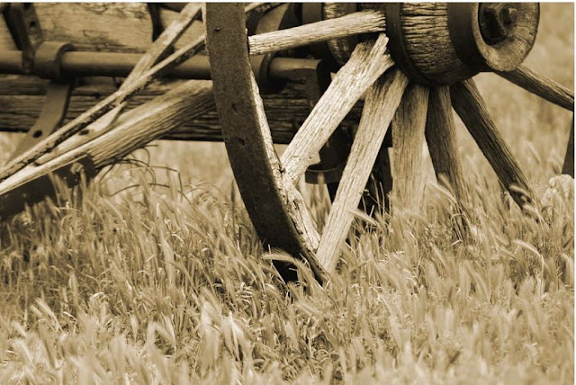 Vintage Wagon Wheel In Sepia