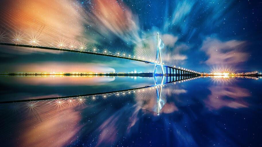 Bridge, Reflection, Night, Scenery, 4K, #6.932
