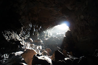 Raufarhólshellir - Our only source of natural light inside the lava tube