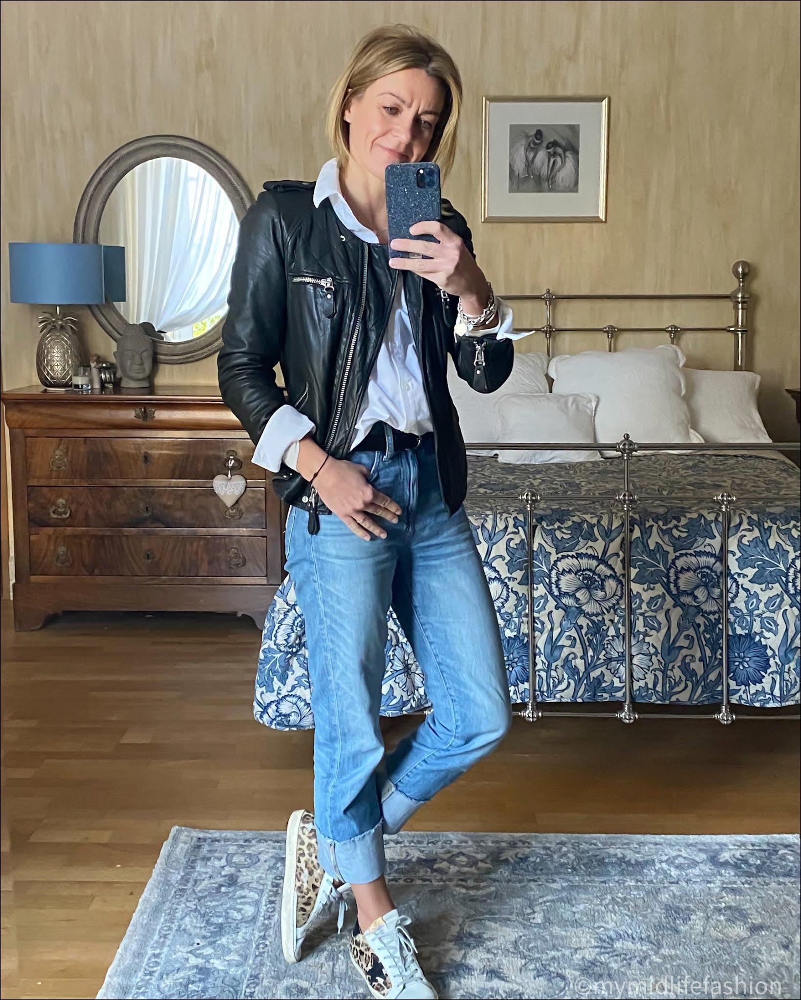 my midlife fashion, Isabel Marant Etoile leather jacket, baukjen heather cotton shirt, Isabel Marant studded belt, j crew boyfriend turn up jeans, golden goose superstar low top leather trainers