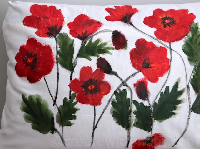 Poppy Flower Inspired Fabric painting Cushion Cover