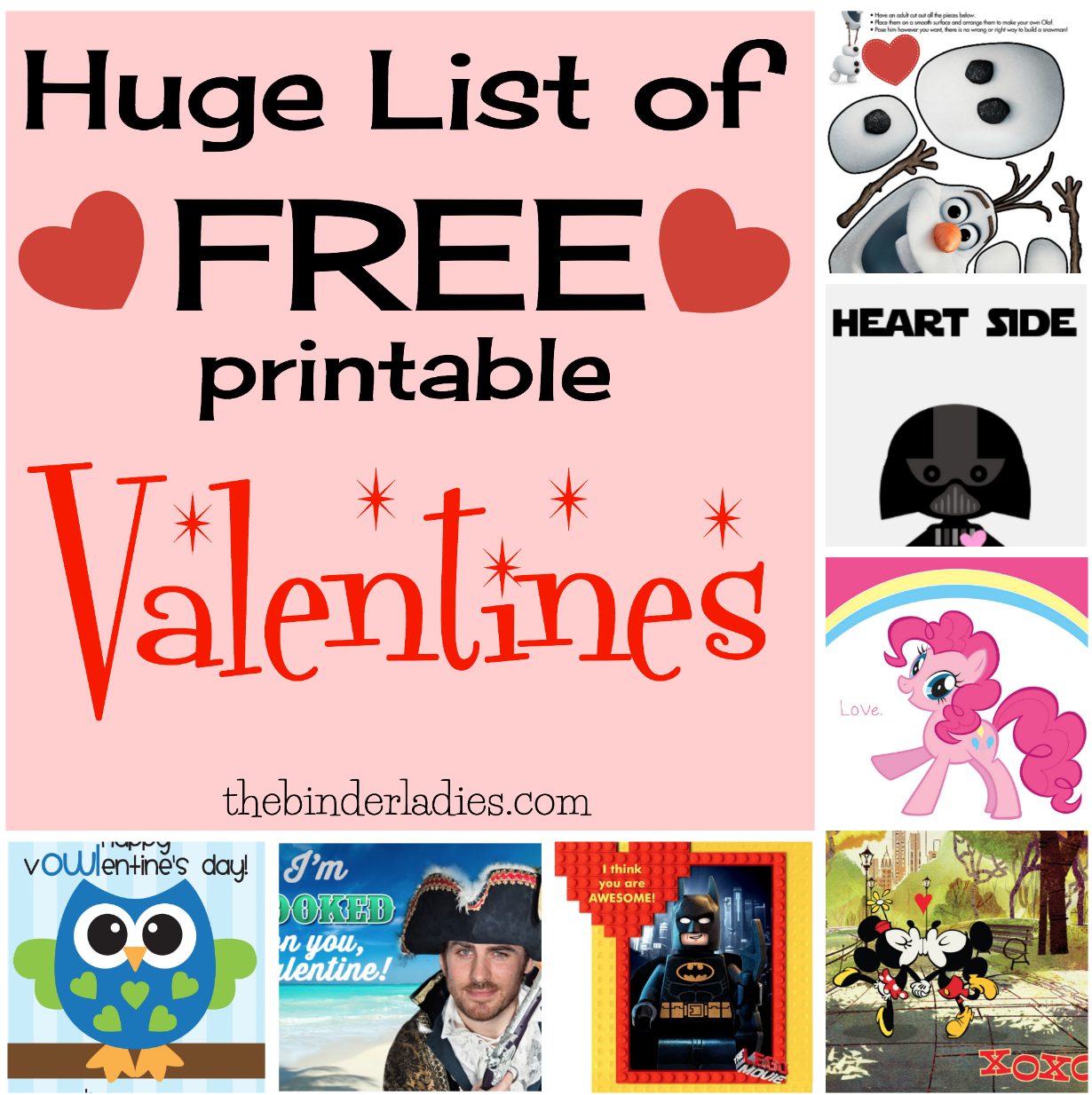 Huge List of FREE Printable Valentines!  Lego, My Little Pony, Disney, Taylor Swift, Frozen + Lots More!