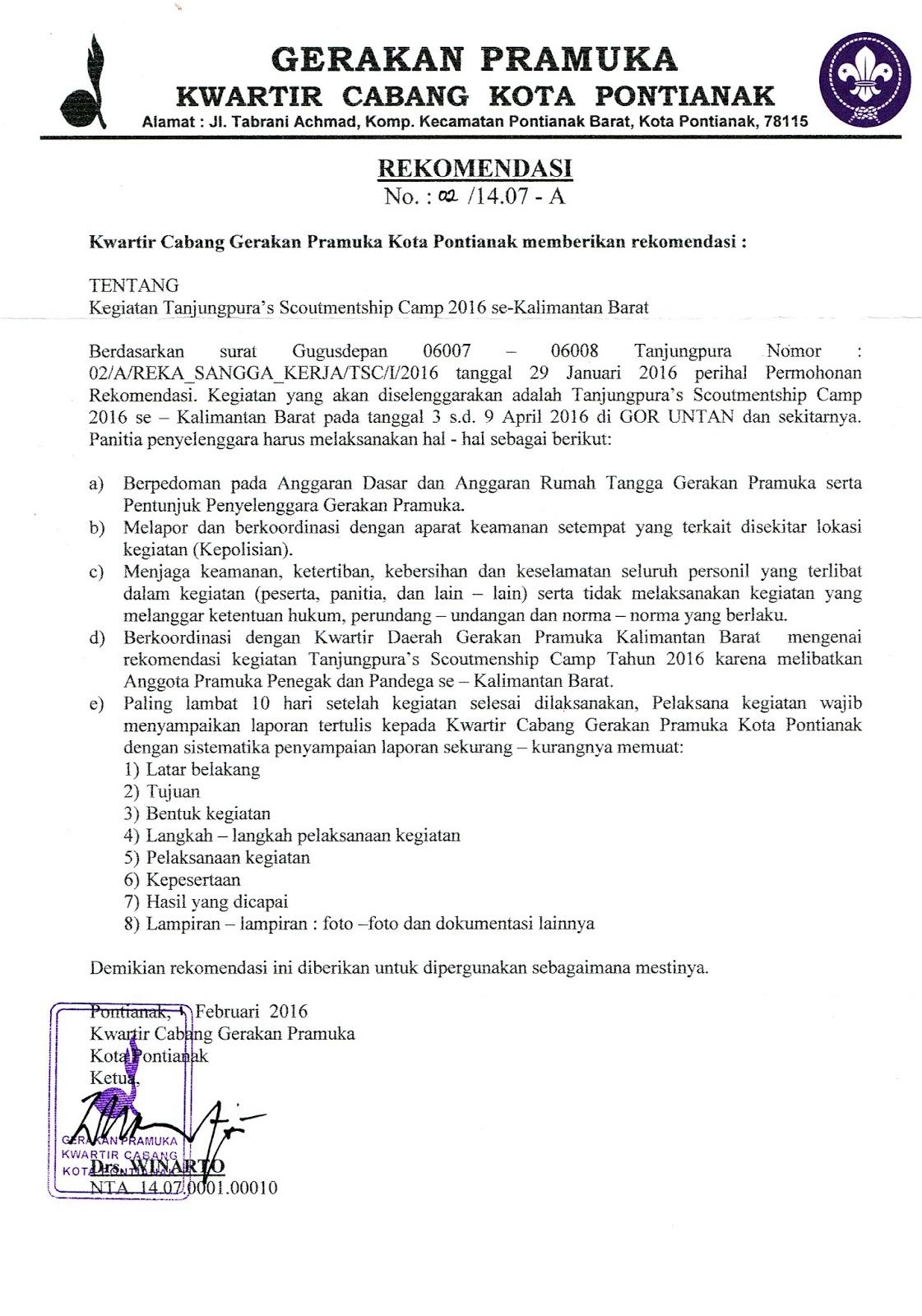 Surat Rekomendasi Kwarcab Tanjungpuras Scoutmentship Camp