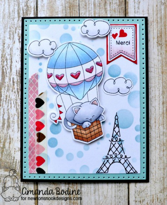 Merci Card by Amanda Bodine | Kitty in Hot Air Balloon | Newton Dreams of Paris Stamp Set by Newton's Nook Designs #newtonsnook