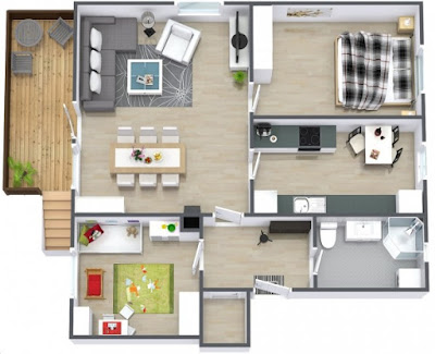 two bedroom 3d house floor plans with basement