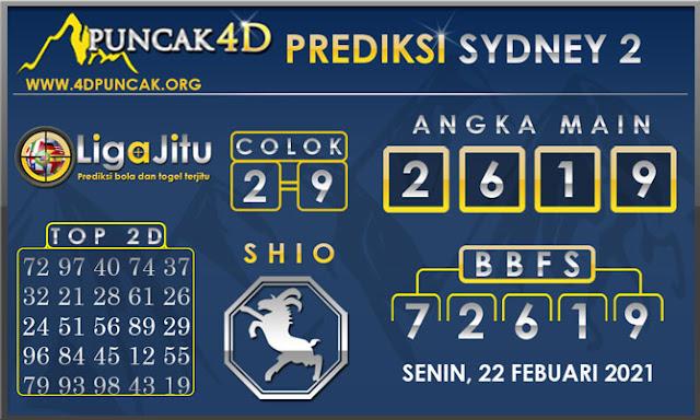 PREDIKSI TOGEL SYDNEY2 PUNCAK4D 22 FEBUARI 2021
