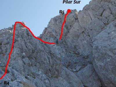 Pilar sur de Peña Ubiña, durante la escalada del Espolón Oeste