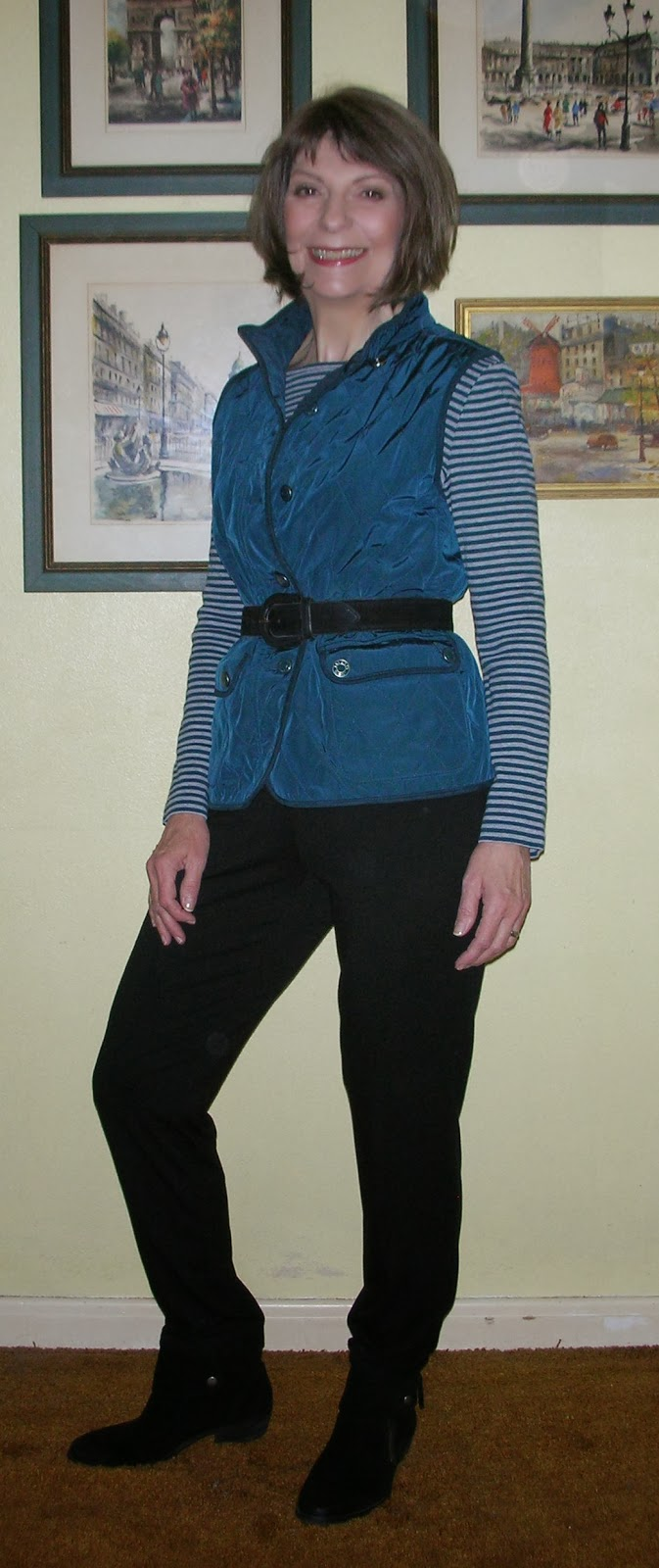 dd1138c414 T-shirt  Talbots Vest  Talbots Pants  J.Jill Belt  80 s and unmarked.  Boots  Nine West Vintage America Collection