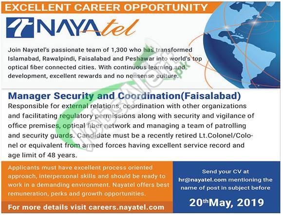 Nayatel Jobs 2019 Faisalabad Online Apply Latest