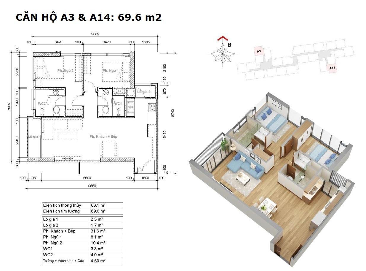 Thiết kế căn góc 2 PN 69.6 m2 Dự án Eco Green Saigon