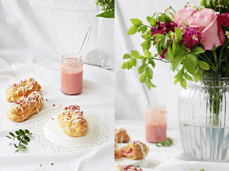 Erdbeer - Rhabarbercurd in Brandteigteilchen