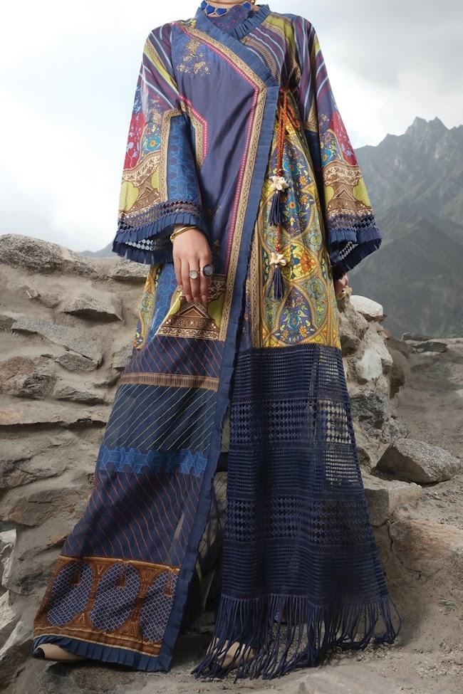 Almirah blue color 2 pc suits unstitched Eid collection