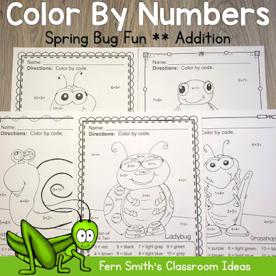 Spring Color By Number Addition